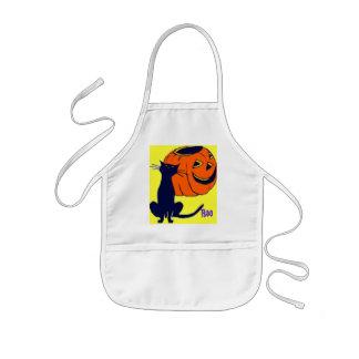 Halloween Child's Black Cat & Pumpkin Apron