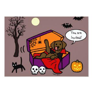 Halloween Chocolate Lab Vampire 13 Cm X 18 Cm Invitation Card