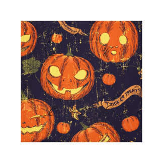 Halloween,classic,pumkin,vintage patten,scary,cute gallery wrapped canvas