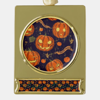 Halloween,classic,pumkin,vintage patten,scary,cute gold plated banner ornament