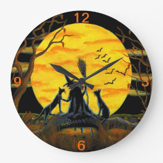 Halloween,clock,witch,bats,snake,frog,cats Large Clock