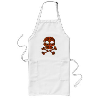 Halloween Colors!  Orange and Black Skulls Long Apron