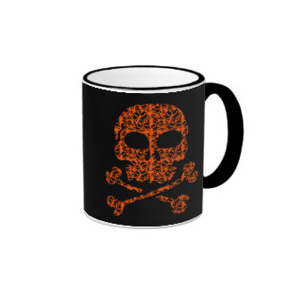 Halloween Colors!  Orange and Black Skulls Ringer Mug
