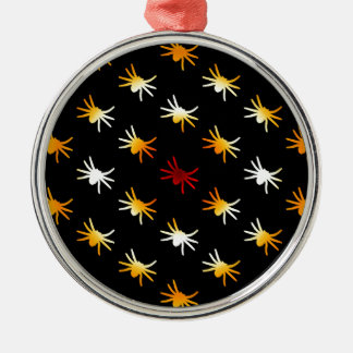 Halloween Colors Spiders Pattern Silver-Colored Round Decoration