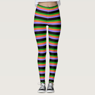 Halloween Colors Striped Leggings