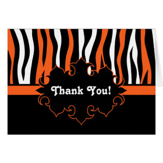 Halloween colors zebra stripes black and orange card
