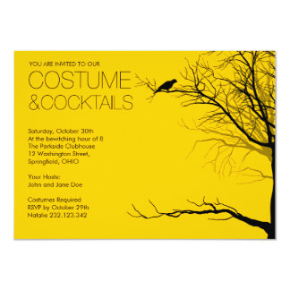 "Halloween Costume and Cocktails 4.5"" X 6.25"" Invitation Card"