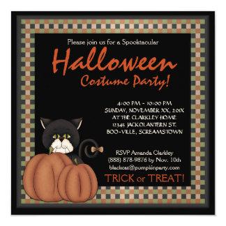 Halloween Costume Party  Black Cat  Pumpkins 13 Cm X 13 Cm Square Invitation Card