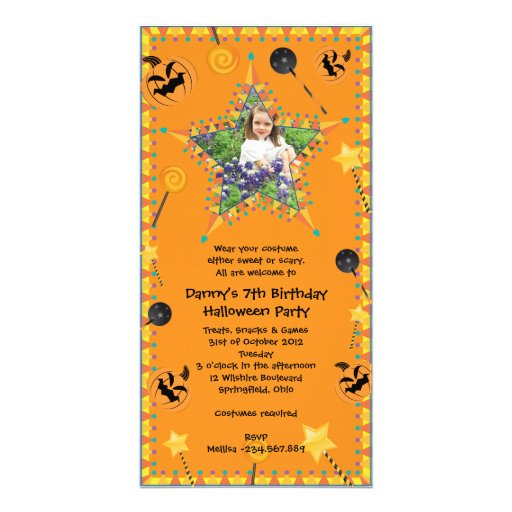 Halloween Costume Party Invitation Photo Card Template