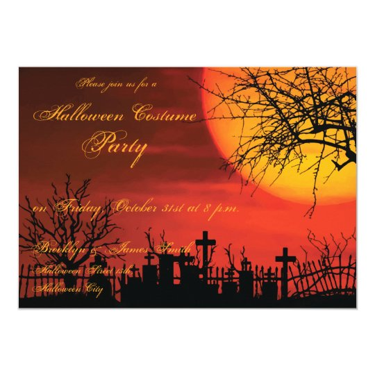 Halloween Costume Party Invitations At Night 5x7