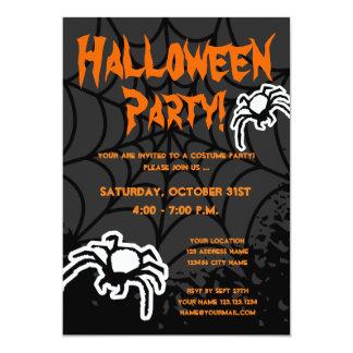 Halloween costume party invitations with spiderweb