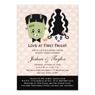 "Halloween Couples Wedding Shower Invitations 5"" X 7"" Invitation Card"