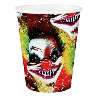 halloween creepy evil horror clown collage paper cup