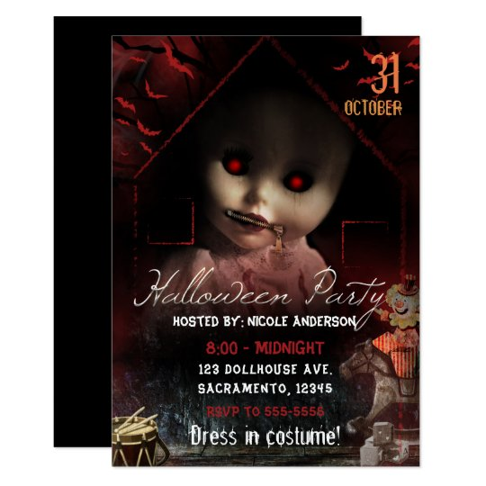 Halloween Creepy Haunted Doll Party Card