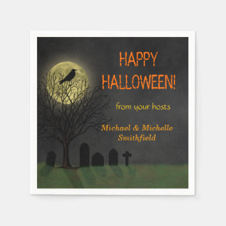 Halloween Crow on Tree with Moon Party Paper Napkin