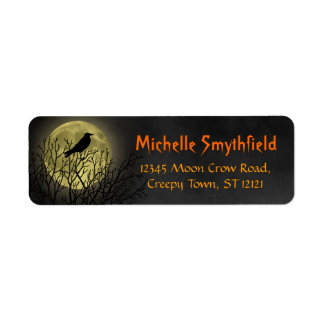 Halloween Crow on Tree with Moon Return Address Label