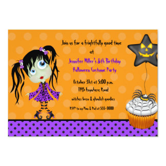 Halloween Cupcake and Girl Ghoul Birthday Card