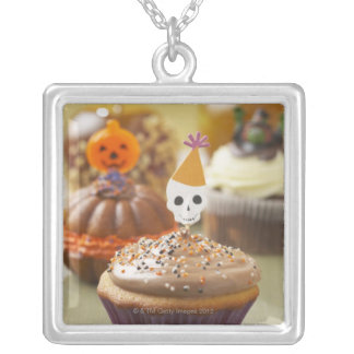 Halloween cupcake silver plated necklace