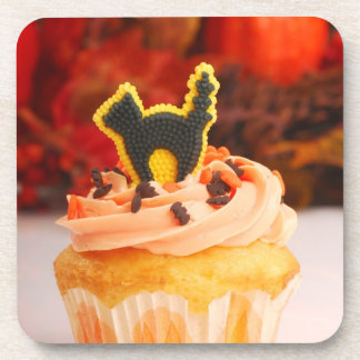 Halloween Cupcake With Fall Foliage Beverage Coasters