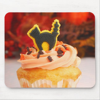 Halloween Cupcake With Fall Foliage Mouse Mat