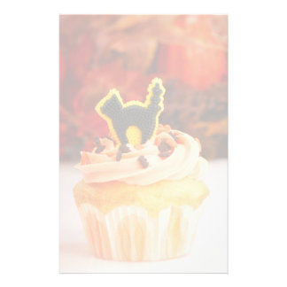 Halloween Cupcake With Fall Foliage Stationery Paper
