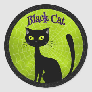 Halloween - Cute Black Cat Round Sticker
