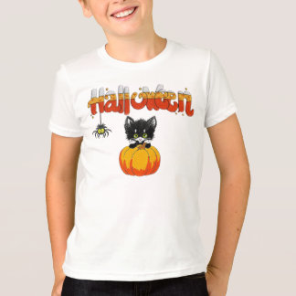 Halloween Cute Cat on Pumpkin T-Shirt