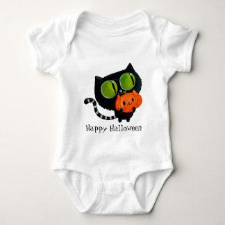 Halloween Cute Cat with pumpkin Baby Bodysuit