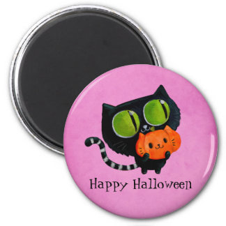 Halloween Cute Cat with pumpkin 6 Cm Round Magnet