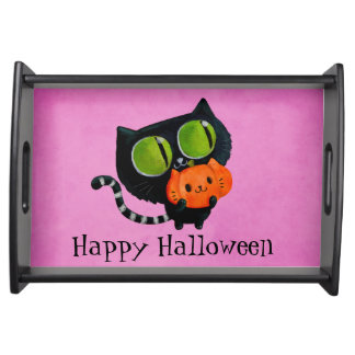 Halloween Cute Cat with pumpkin Serving Tray