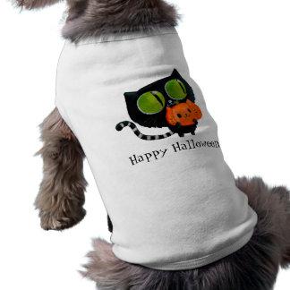 Halloween Cute Cat with pumpkin Sleeveless Dog Shirt