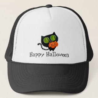 Halloween Cute Cat with pumpkin Trucker Hat