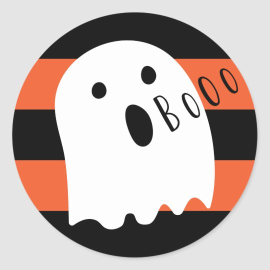 Halloween Cute Ghost Boo Orange and Black Stripe