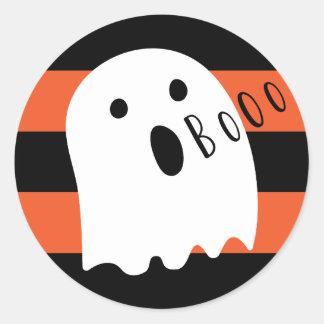 Halloween Cute Ghost Boo Orange and Black Stripe Round Sticker