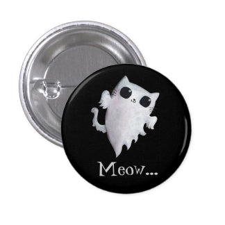 Halloween cute ghost cat 3 cm round badge