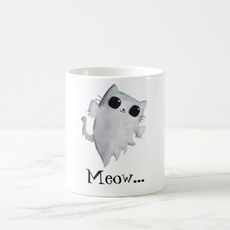 Halloween cute ghost cat coffee mug