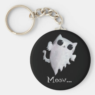 Halloween cute ghost cat basic round button key ring