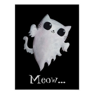 Halloween cute ghost cat poster