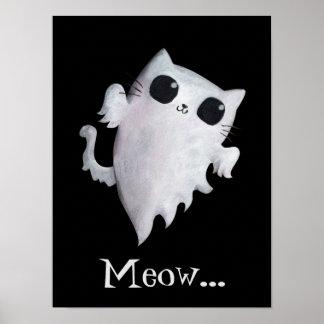 Halloween cute ghost cat poster