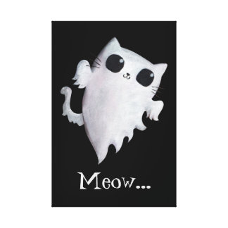 Halloween cute ghost cat stretched canvas print