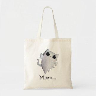 Halloween cute ghost cat tote bag