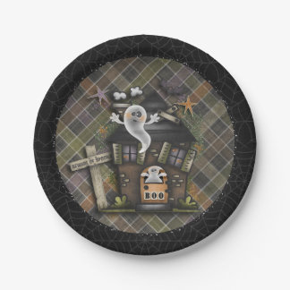 Halloween - Cute Haunted Ghost House (1) 7 Inch Paper Plate