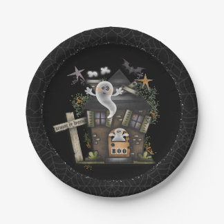 Halloween - Cute Haunted Ghost House (2) 7 Inch Paper Plate