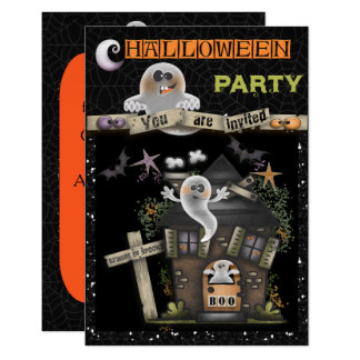 Halloween - Cute Haunted Ghost House (2) Card
