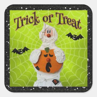 Halloween - Cute Mummy and Pumpkin Square Sticker