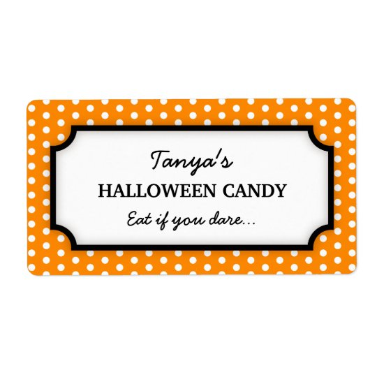 Halloween cute orange polka dots canning jar label shipping label