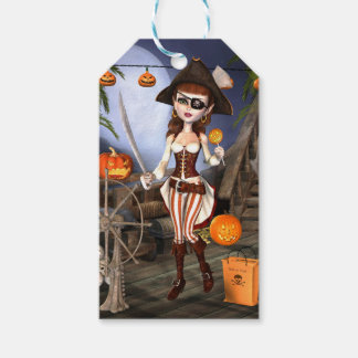 Halloween Cute Pirate Girl Custom Gift Tags