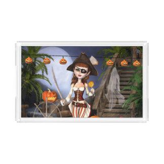 Halloween Cute Pirate Girl Serving Tray