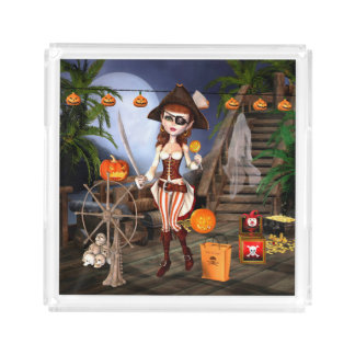 Halloween Cute Pirate Girl Square Serving Tray