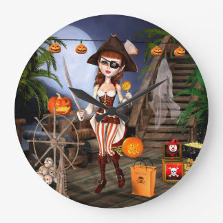 Halloween Cute Pirate Girl Wall Clock